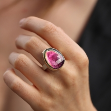 Large Watermelon Tourmaline Silver and Gold Ring Image