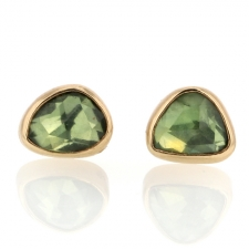 Green Sapphire Faceted Gold Post Earrings Image