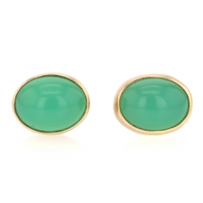 Oval Chrysoprase Post Earrings Image
