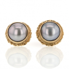 Large Round Grey Cultured Pearl Post Earrings Image
