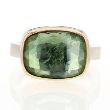 Rectangular Green Tourmaline Silver and Gold Ring Image