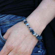 Apatite, Labradorite, Aquamarine and Antique Brass Bracelet Image