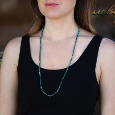 Faceted Turquoise Long Beaded Necklace Image