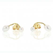 Keishi Pearl Unique Post Stud Seafire Earrings