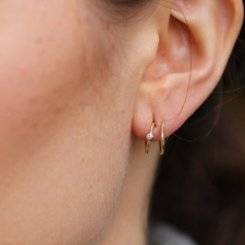 Spiral Gold Earrings with Diamonds Image
