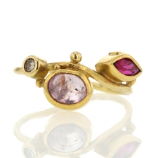 Gold Seafire Ring with Diamond, Sapphire and Ruby