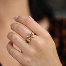 Pink Sapphire White and Yellow Gold Twist Ring Image