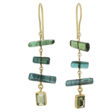 Green Tourmaline Gold Dangle Earrings Image