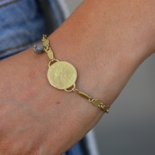 Gold Coin Bracelet with Diamond Bead Dangle Image