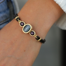 Grey Moonstone and Star Ruby Leather Bracelet