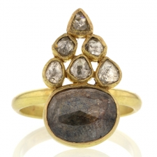 Rustic and Polki Diamond Gold Ring Image