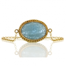 Carved Aquamarine Gold Bracelet Image