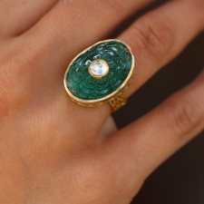 Carved Emerald Filigree Ring with Polki Diamond