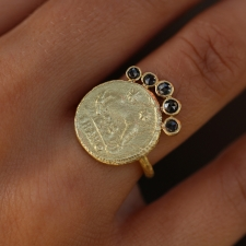 Gold Coin Ring with Black Diamond Halo Ring