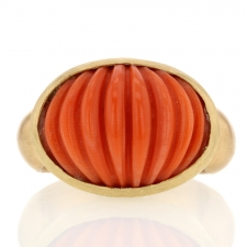 Carved Coral Gold Ring Image