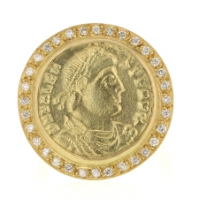 Roman 18k Coin Pave Ring