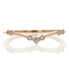 Curved Rose Gold Diamond Ring Image