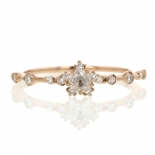 Diamond Snowflake Victorian Rose Gold Ring Image