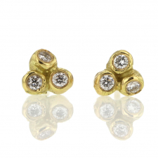 Small Sea Anemone Diamond Stud 14k Gold Stud Earrings Image