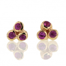 Small Sea Anemone Pink Sapphire Stud 14k Gold Stud Earrings Image
