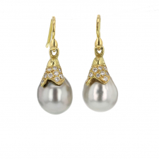 Tahitian Pearl Paved Diamond Pussy Willow Drop Earrings Image