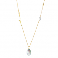 Platinum Pearl Pendant Necklace with Tahitian Pearl and Diamond Image