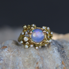 Aurora Borealis Opal 18k Gold Ring with Diamonds Image