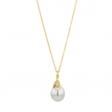 Tahitian Pearl Diamond Pussy Willow Gold Necklace