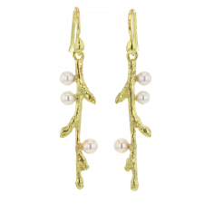 Gold Branch Drop Earrings with Japanese Akoya Budded Pearls Image