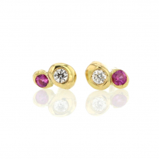 Ruby and Diamond Bubble 18k Gold Stud Earrings Image