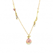 18k Forest Pendant with Japanese Keishi Pearls and Sapphires Image