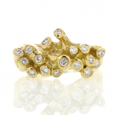Diamond Cluster Sea Anemone 18k Gold Ring Image