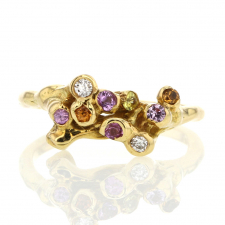 Slender Sapphire and Diamond Sea Anemone Gold Ring Image