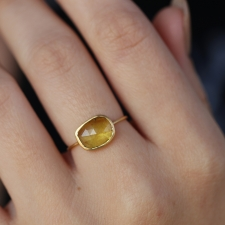 Yellow Tourmaline 18k Gold Faceted Ring Image