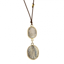 Double Labradorite Drop Nylon Cord Necklace Image