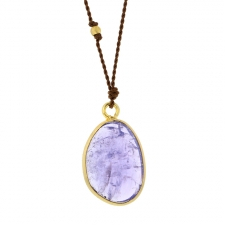 Tanzanite Gold Necklace on Nylon Cord Image