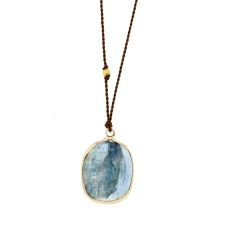 Kyanite Nylon Cord Gold Necklace Image