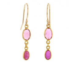 Pink Tourmaline and Ruby Double Drop Gold Earrings Image