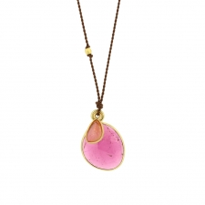 Tourmaline and Sapphire Double Drop Nylon Cord Necklace Image