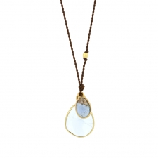 Aquamarine and Sapphire Double Drop Nylon Necklace Image