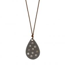 Blackened Silver Teardrop Necklace with Diamonds Image