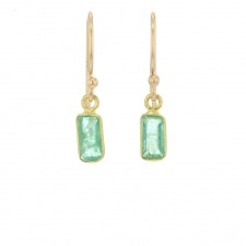 18k Emerald Baguette Earrings Image