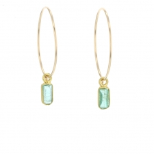 Gold Emerald Hoops Image