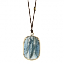 Kyanite Gold Drop Nylon Cord Necklace Image