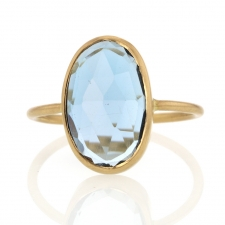 Blue Topaz 18k Gold Vertical Ring Image