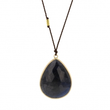 Large Faceted Sapphire 14k Gold Necklace on Nylon Cord Image