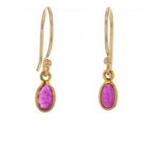 Small Gold Ruby Drop Earrings Image