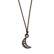 Small Oxidized Silver Diamond Moon Necklace