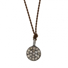 Small Oxidized Silver Disc Drop Necklace Image