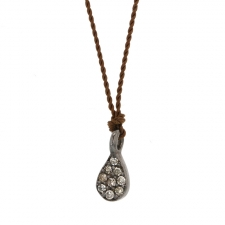 Small Oxidized Silver Diamond Tear Drop Necklace